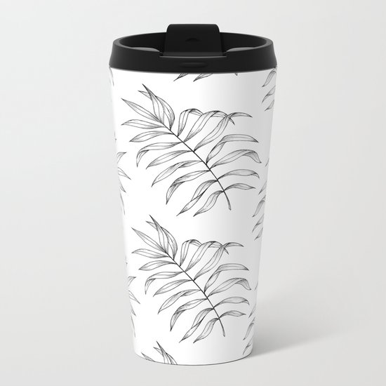 Palm Leaves Pattern Metal Travel Mug