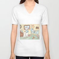 nursery V-neck T-shirts featuring Nursery by Bluedogrose