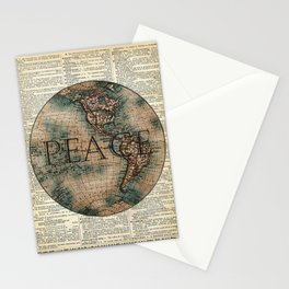 World Peace Collage-Old Dictionary Art Stationery Cards