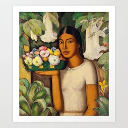 Mujer con Fiores (Bell Flowers, Dahlia & Calla Lilies) by Alfredo Martinez Art Print