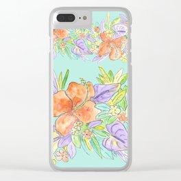tropical hawaiian flowers aqua Clear iPhone Case