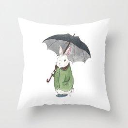 Mr. Tibbles Loves the Rain Throw Pillow