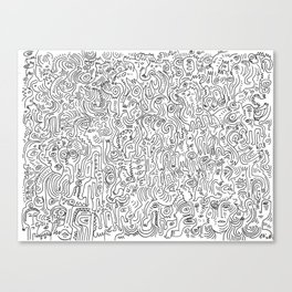Graffiti Black and White Pattern Doodle Hand Designed Scan Canvas Print