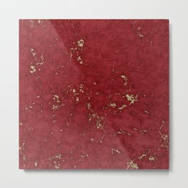 Red and gold faux marble texture Metal Print