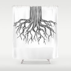 Tree Root Drawing (black on white) Shower Curtain