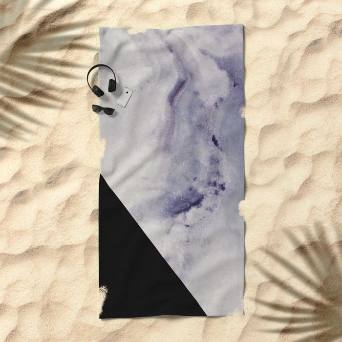 Blue Marble with Black Geometry Beach Towel