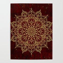 Deep Red & Gold Mandala Poster