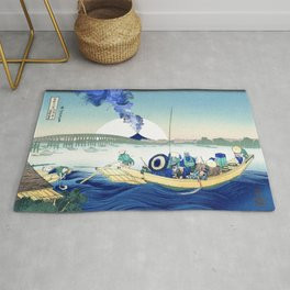 Hokusai View Of Mount Fuji Eruption and Sun Rug