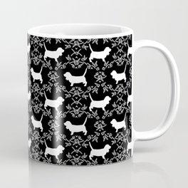 Basset Hound floral silhouette dog pattern minimal black and white pet portraits Coffee Mug