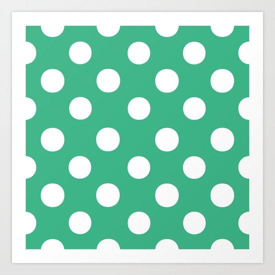 Polka Dots (White/Mint) Art Print
