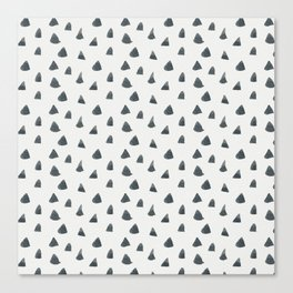 Geometrical black white hand painted watercolor triangles Canvas Print