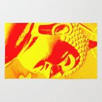 buddah Area & Throw Rugs featuring Buddah Head 04; Orange Blush by Kether Carolus