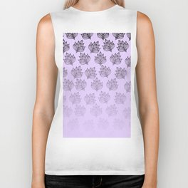 Abstract hand painted black lavender ombre floral Biker Tank