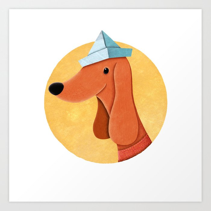 Dog With Newspaper Hat | Illustration Art Print