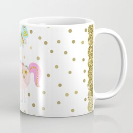 Pink & Gold Glitter Unicorn Coffee Mug