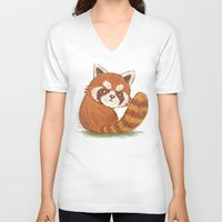 red panda V-neck T-shirts featuring Panda by Toru Sanogawa