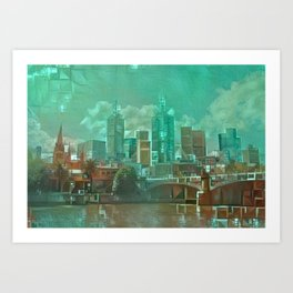 Melbourne Waterfront Abstract Art Print