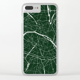 Paris France Minimal Street Map - Forest Green Clear iPhone Case