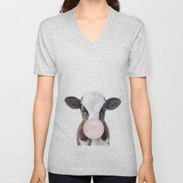 Bubble Gum Baby Cow Unisex V-Neck