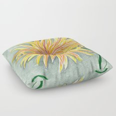 yellow dahlia Floor Pillow
