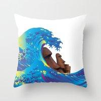 hokusai Throw Pillows featuring Hokusai Rainbow & Moai by FACTORIE