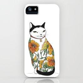 Cat in Tiger Flower Tattoo iPhone Case