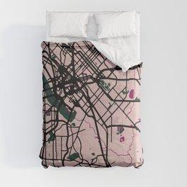 Dallas Street Map // Violet Theme Comforters