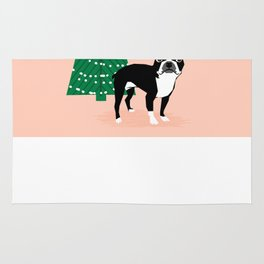 Boston Terrier Xmas - christmas tree holiday pet dog lover gift with boston terrier cute santa hat  Rug