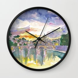 Rome Italy Vatican San Pietro in the Evening Glory Wall Clock