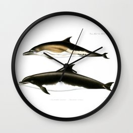 Vintage dolphins nautical porpoise whale antique beach house dolphin print Wall Clock