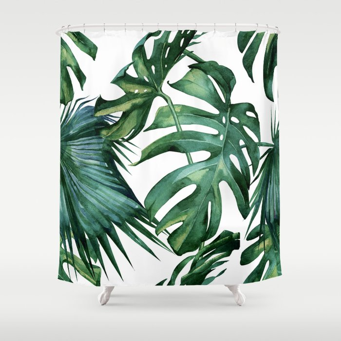 simply island palm leaves shower curtain by followmeinstead society6
