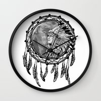dream catcher Wall Clocks featuring Dream Catcher by Astrablink7