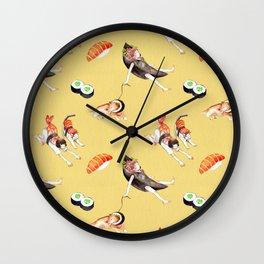 Yellow Pattern Sushi Girl Wall Clock