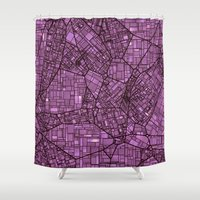maps Shower Curtains featuring Fantasy City Maps 4 by MehrFarbeimLeben