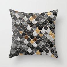 REALLY MERMAID BLACK GOLD Throw Pillow