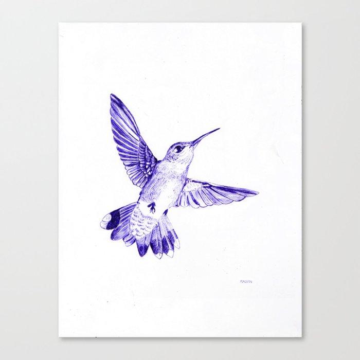 Hummingbird in Ballpoint Pen Canvas Print