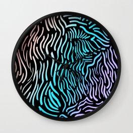 Wavy Vibes Holo Rainbow Abstract Drawing Wall Clock