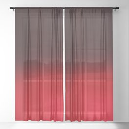 Red Ombré Block Design Sheer Curtain