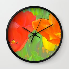 Etched Tulips 4 Wall Clock