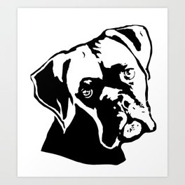 CHRISTMAS WITH THE BOXER DOG FOR YOU FROM MONOFACES Art Print