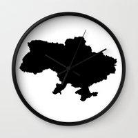 ukraine Wall Clocks featuring UKRAINE SIMPLE MAP by DEAD RINGER DESIGN