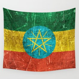 Vintage Aged and Scratched Ethiopian Flag Wall Tapestry