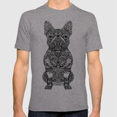 Mandala Frenchie LARGE Tri-Grey Mens Fitted Tee