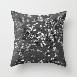 Gray Black Night Glitter Stars #1 #shiny #decor #art #society6 Throw Pillow