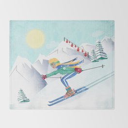 Skiing Girl Throw Blanket