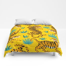 Yellow Tiger Tropical Pattern Comforters