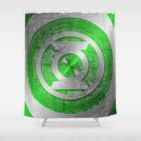 green lantern Shower Curtains featuring Green Lantern Shield Logo by ThreeBoys