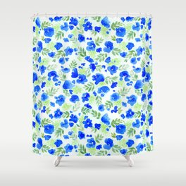 Floret (Blue) Shower Curtain