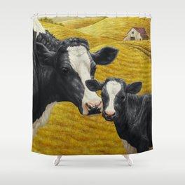 Holstein Cow and Cute Calf Shower Curtain