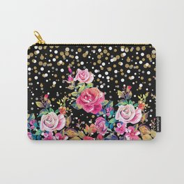 Modern watercolor spring floral and gold dots pattern Carry-All Pouch